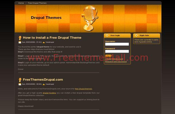Free Drupal Dark Music Orange Theme Template