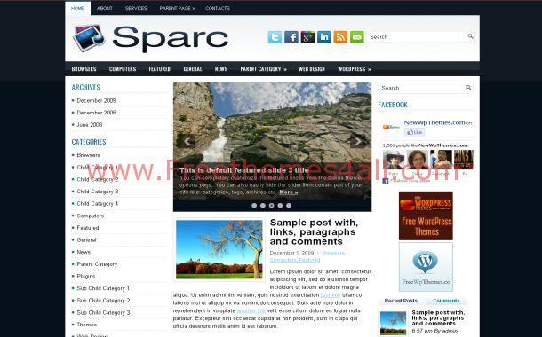 Free WordPress Black Blue Business Theme Template