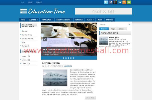 Education Blue White Blogger Theme