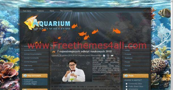 Blue Aquarium Fish Drupal Theme Download