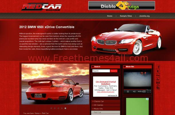 free joomla red cars magazine theme template freethemes4all
