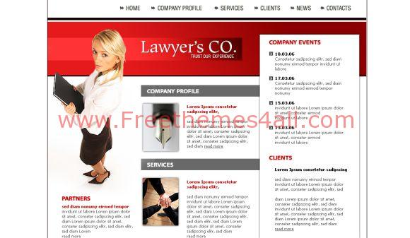 Free HTML Lawyer Office Red Website Template