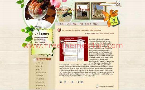Free Floral Restaurant Blogger Theme