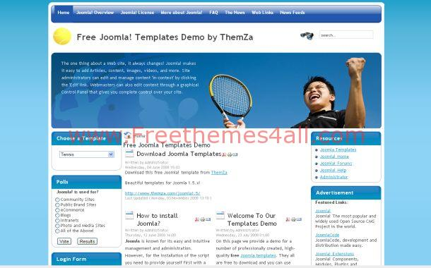 Tennis Sport Joomla Theme Template Free Download