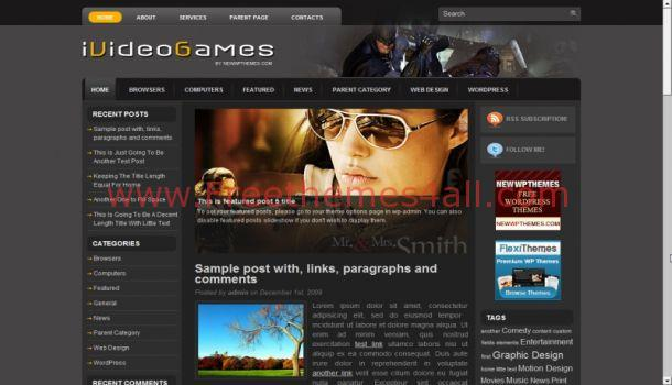 Free Games Movies WordPress Theme Template