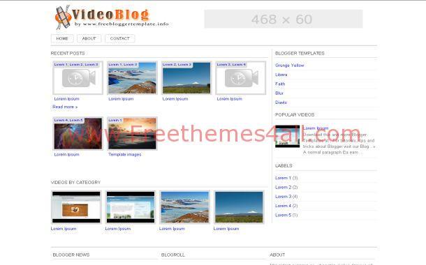 Movies Videos Blogger Theme