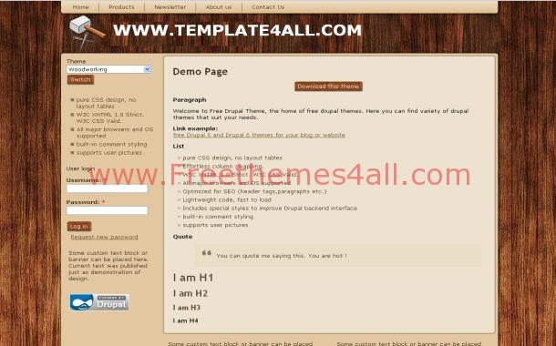 Wooden Grunge Brown Free Drupal Theme