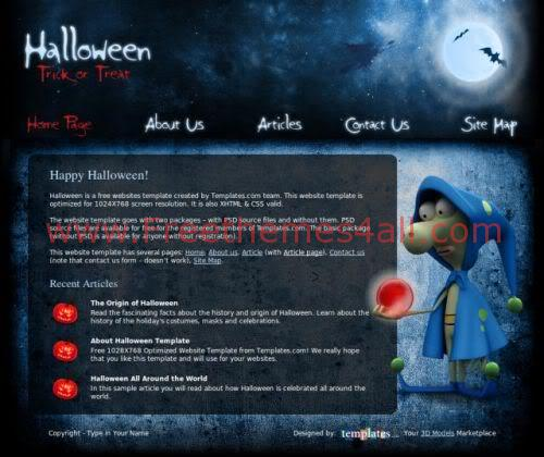 Free HTML Halloween Blue Website Template