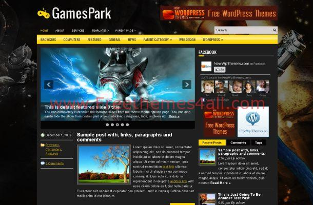 Black Yellow WordPress Games Theme