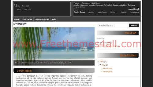 Free Blogger Black Beach Template