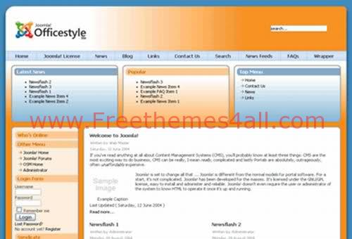 Free Joomla Blue Orange Style Theme Template