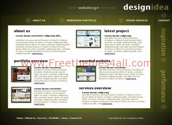 Free Web Template For Design Idea Green Website