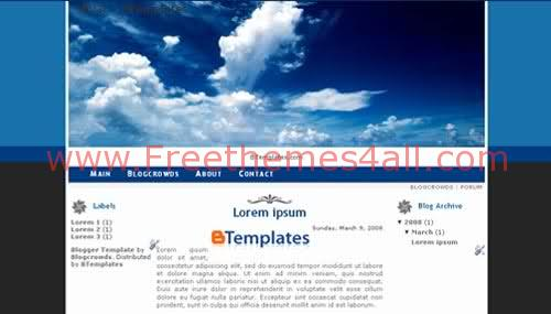 Free Blogger Blue Sky Clouds Web2.0 Template