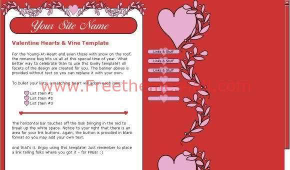 Red Hearts Valentine Website Template