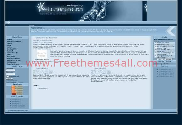 Free Joomla Art Blue Digital Water Theme