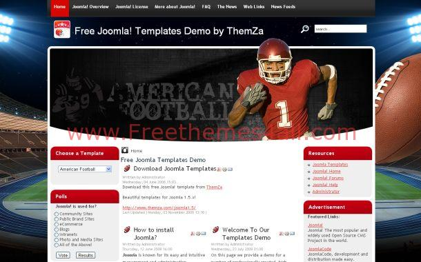 Free Rugby Football Red Joomla Theme Template