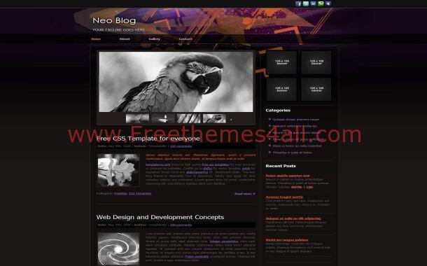 Free Black Grunge Purple CSS Website Template