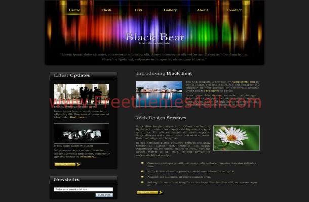 Free CSS Dark Black Colorful HTML Web Template