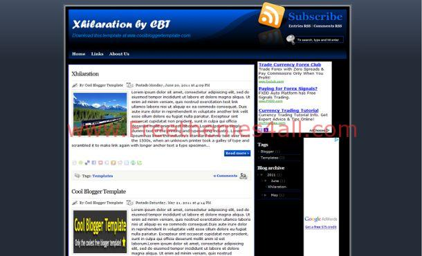 Blue Dark Free Blogger Layout Template