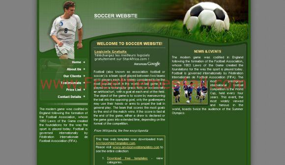 Soccer Football Green CSS Template