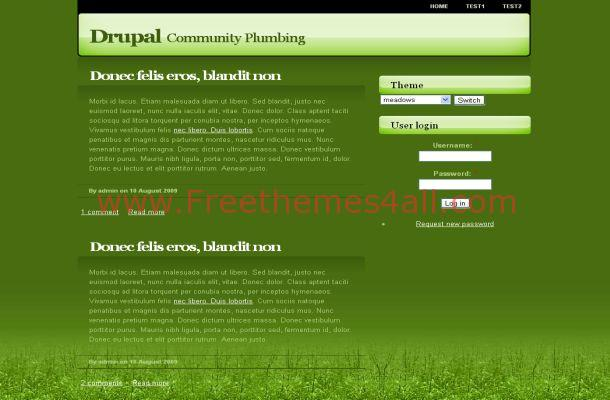 Free Drupal Green Nature Web2.0 Theme Template