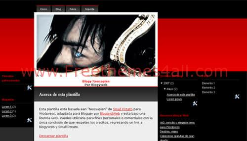 Neon Red Black Blogger Layout Template