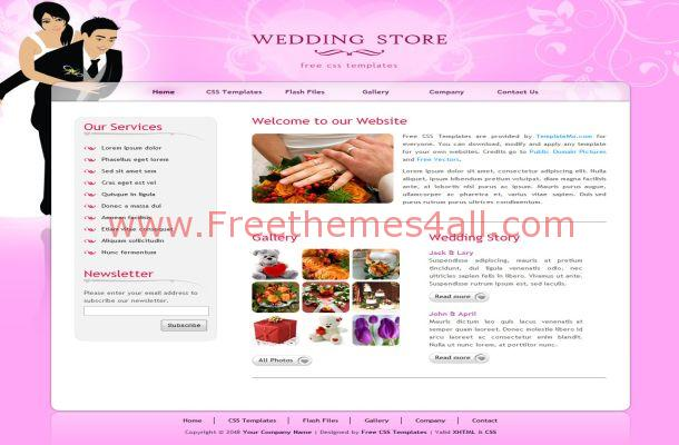 Free HTML Pink Wedding CSS Website Template