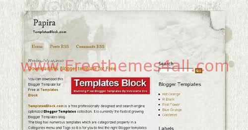 Blogger Papira Grunge Web 2.0 Template