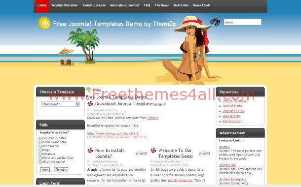 Free Joomla Beach Travel Sexy Theme Template