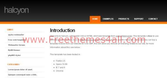 Free CSS Halcyon White Orange Website Template