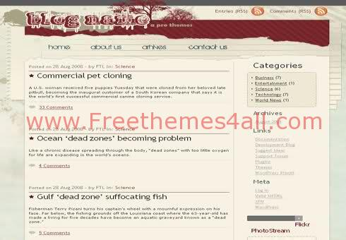 Free WordPress Art Red Automn Web2.0 Theme Template