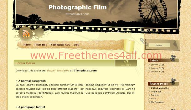 Free Blogger Movies Photographic Film Template