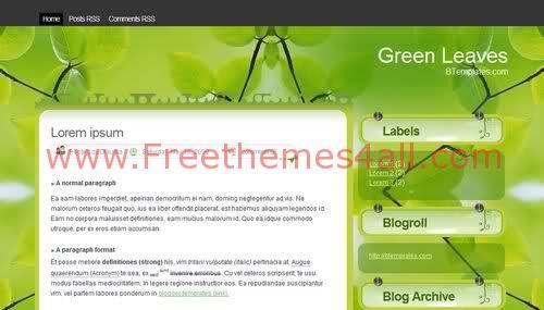 Free Blogger Green Leaves Blog Web2.0 Template