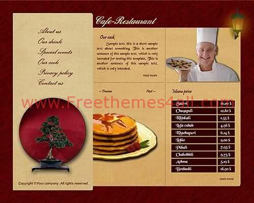 Brown Cafe Restaurant Flash Template