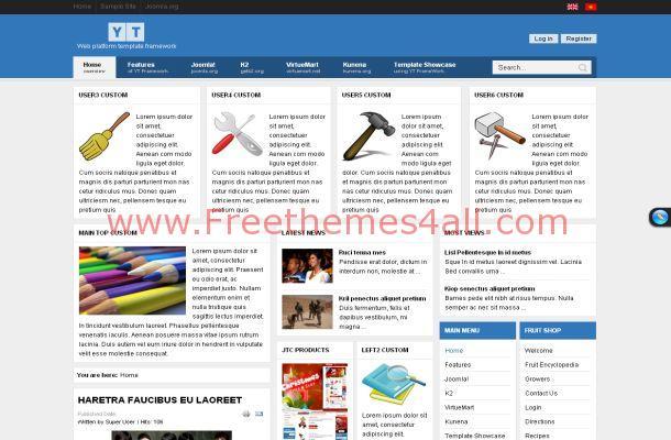 Free Joomla Blue White Business Theme Template
