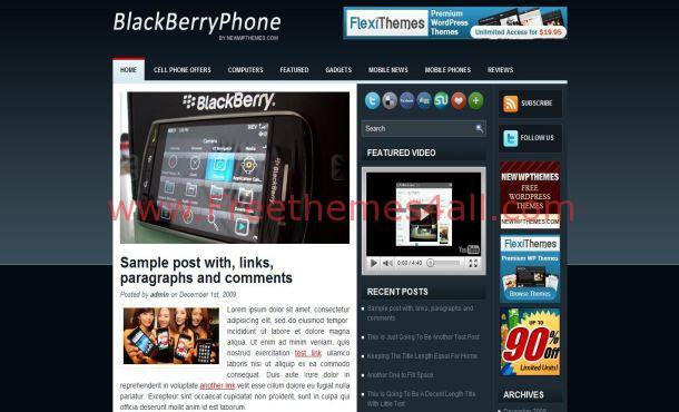 Free BlackBerry Blue Mobiles WordPress Theme