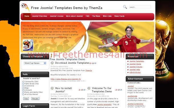 Football Soccer Grunge Free Joomla Theme Template