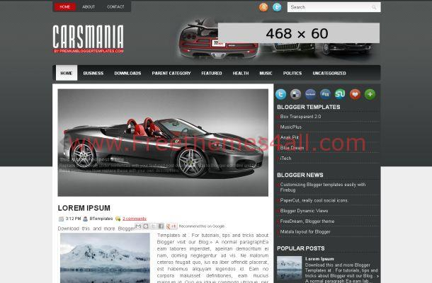 Black Cars Magazine Blogger Theme