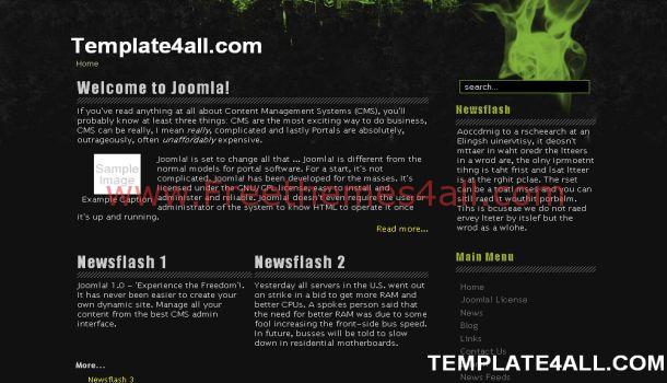 Grunge Black Portfolio Joomla Template