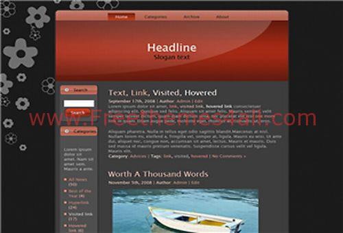 Free Cherry Black Red Web2.0 WordPress Theme