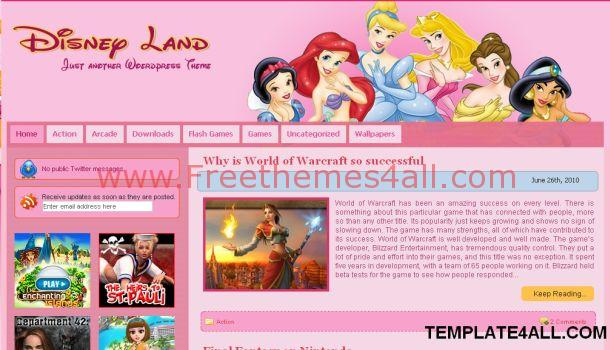 Pink Disney Land WordPress Theme
