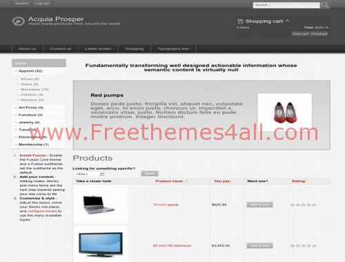 Free Ubercart Shopping Drupal Theme