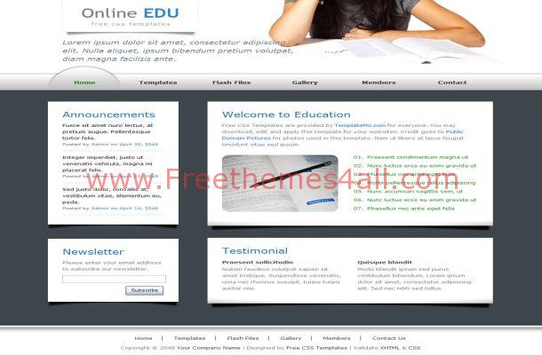 White Education CSS Template