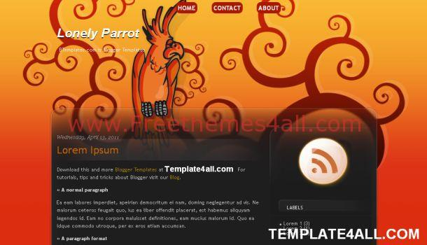 Red Orange Nature Parrot Blogger Template