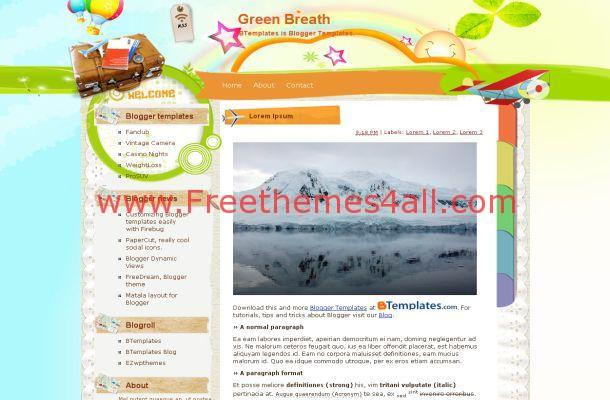 Vector Green Blogger Travel Theme