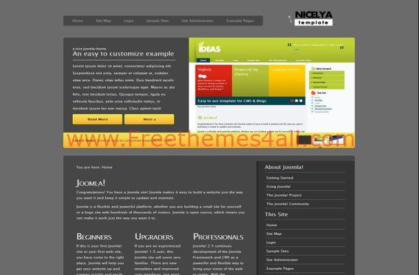 Free Joomla Abstract Grey Theme Template