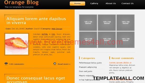 Free Orange Black Jquery Website Template
