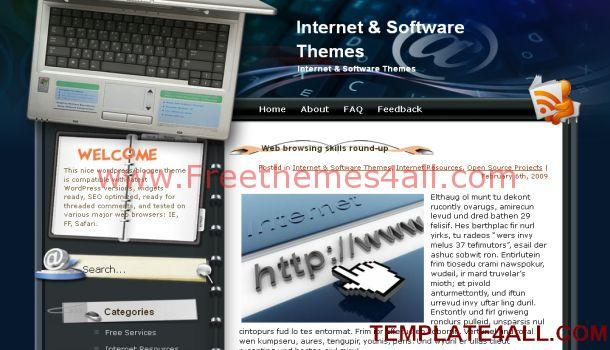 Free Internet Blue WordPress Theme Template