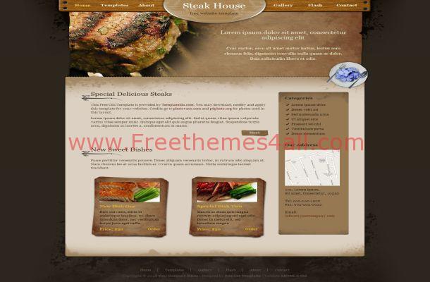 Free CSS Black Brown Restaurant Website Template