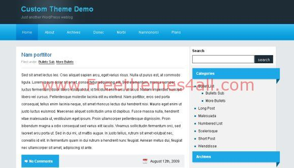 Free Blog Wave Blue Black WordPress Theme